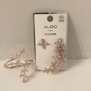 Rose gold Aldo earrings and ring set.